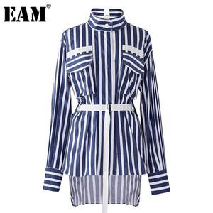 [EAM] Kadınlar Dikey Çizgili Düzensiz Bandaj Bluz Yeni Yaka Uzun Kollu Gevşek Fit Gömlek Moda İlkbahar Sonbahar 2020 1DC164