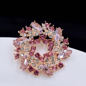 Yeni Kristal Rhinestone Altın Çinli Erguvan Çiçek Broş iğneler Takı Kadınlar Broş Eşarp Moda Takı için