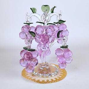 De gama alta cristalina Chirstmas árbol del ahorcado Adornos Fengshui Artesanía Cristal púrpura Uvas Figurita Inicio del regalo de Navidad Decoración