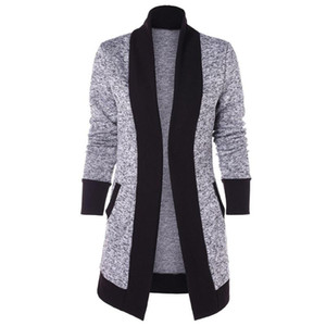 2021 Fashion Women Casual Long Sleeve Two Tone Patchwork Knit Pocket Cardigan Tops
