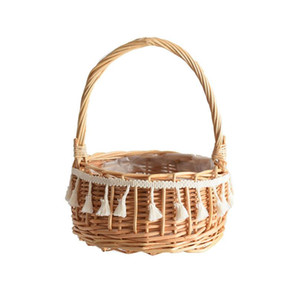 New Handmade Storage Baskets Straw Patchwork Flowerpot Wicker Rattan Garden Flower Planter Pot Folding Planter Bamboo Basket