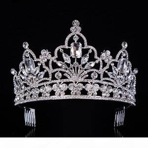 hot Silver Crystal Large Queen Pageant Crown Noble Rhinestone Diadem Tiaras for Princess Headbands Wedding Hair AccessoriesT-029 S918