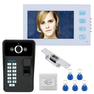 7 pouces TFT reconnaissance d'empreinte digitale Mot de passe RFID visiophone Intercom Sonnette