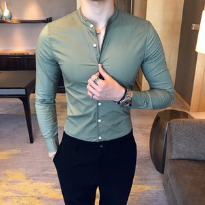 2019 New Men's Fashion Boutique Cotton Solid Color Collar Casual Business Long-sleeved Shirts Male Slim High-end Leisure Shirts C1222