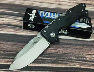 Cold steel AD-10 landing point CPM S35VN stainless steel folding knife, black G10 numerical control handle, single finger female push open,