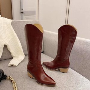 2020 women's high-quality casual autumn and winter classic net red hot boots made of horse oil leather