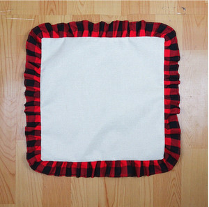 45*45cm Blank Sublimation Red Black Plaid Pillow Case DIY Thermal Transfer Linen Lace Throw Pillow Case Cushion Cover Home Supplies D102902