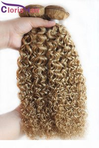 Brazilian Blonde Curly Hair Extensions Cheap Color 27 Honey Blonde Kinky Curly Brazillian Human Hair Weave Bundles Deals 3Pcs
