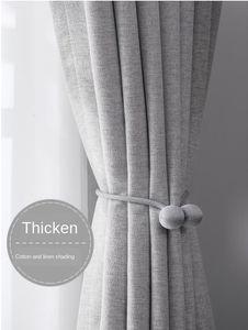 Velvet Linen Gray Curtain Nordic Simple Style Shade Bedroom Warm Living Room Modern Light Luxury Korean Style Fresh