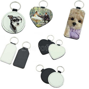 Blank sublimation PU leather personalize keychain hand strap for car cell phone heart Rectangle round shape key chain Charm FY4385