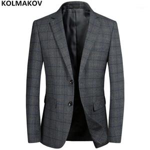 Kolmakov New Men's Blazers Hombre Trabajo Traje Gris Mens Classic Plaid Blazer Chaquetas Homme Business Luxury Blazers para caballeros 3xl1