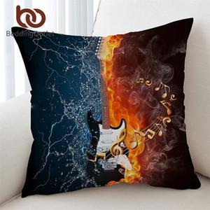 BeddingOutlet Bass Guitar Cushion Cover 3D PrintedPillow Covers Fire And WaterPillow Case 45*45cm Music VividKussenhoes
