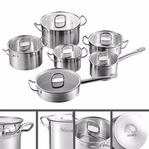 Conjunto de utensilios de cocina de Velaze Conjuntos de potpa de cocina de acero inoxidable de 12 piezas, inducción, cacerola, cazuela, con tapa de vidrio templado C0127