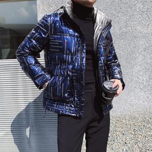 Herrenbekleidung Blue Duck Down Jacket Men Parka 2021 Down Jacket Men Modische Hell Printed Mantel Duck Down Jacket