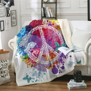 Watercolor Butterfly Velvet Plush Throw Blanket Colorful Sherpa Blanket for Bed Sofa Peace Design Thin Quilt