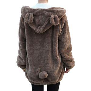 Frauen-nette Hoodies-Mantel-Winter-lose Fluffy Bären-Ohr-Kapuzenjacke Kawaii warme Oberbekleidung Mantel Netter Sweatshirts Mäntel Tops LJ201102