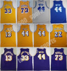 Men Vintage Basketball Wilt Chamberlain Jersey 13 Dennis Rodman 73 Jerry West 44 Kareem Abdul Jabbar 33 Elgin Baylor 22 Stitched High
