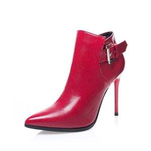 2020 Yeni Yıl Bahar Ve Kış Kadın Ayakkabı Kırmızı Yeni Klasik Ayak Bileği Çizmeler Düğün Kadın Ayakkabı Moda Parlak Seksi Kızlar1