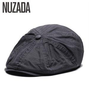 NUZADA British Style Flat Cap Visor Caps Cotton Women Men Unisex Beret Hats Spring Autumn Retro Solid Color Boina 201113