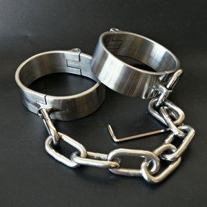 Heavy Stainless Steel Handcuffs Ankle Cuff Lockable Fetish Bondage Bdsm Hand Cuffs Restraints Adult Games Sex Toys for Women Men Y200410
