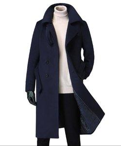 Men's woolen trench coat for fall winter 2020 new British high-end belt thick slim coat woolen