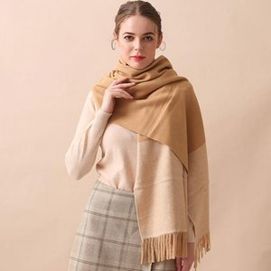 Soft Daily Metropolis Street Elegant With Tassel Durable Shopping Dating Women Scarf Thermal Color Block Artificial Wool Casual
