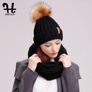 Шляпы, шарфы перчатки наборы Furtalk Женские вязаные зимние шляпы и шарф набор POM Beanie Hats вязание бесконечности теплые шеи круг набор1