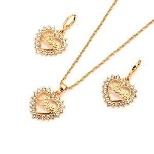 Fashion Bridal love Heart White cz crystal fine gold gf Earring pendant necklace wedding bridal Jewelry Sets for Women