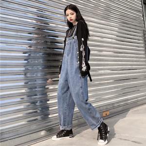 New loose Jean Jumpsuit Women Plus Size Wide Leg Denim Overalls bib Cowboy Pants denim Tooling Suspender harem pants KZ115 200930