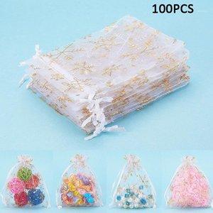 Envoltório de presente 100 pçs / lote branco organza sacos floco de neve impresso para presentes de festa de casamento pequeno 10 cm * 12cm drop1