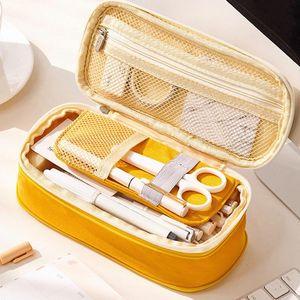 Caso de lápis de escola bonito grande grande caneta bolsa bolsa Multifunction papelaria caixa fornece presente caixa cosmética 2020