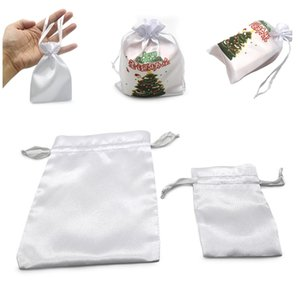 Sublimation Christmas Candy Bag Blank White DIY Thermal Transfer Drawstring Bag Wristlets Pocket Storage Package Gift Jewelry Bags F102206