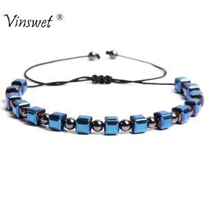 Men Bracelets Hematite Slim Health Slimming Tiger Eye Beaded Bracelets& Bangles for Women Men Hand Jewelry Adjustable Pulseira