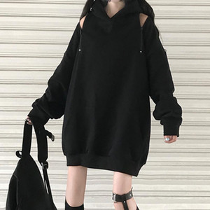 Goth Women Hooded Hoodie Balck Loose Casual Zipper Hollow Pullover Thick Long Coat Japan Korea Young Girl Fashion Autumn 2020