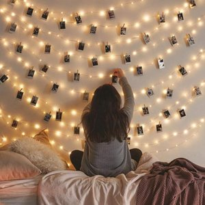 2M 5M 10M DIY Photo Hanging Clips String Light Photo Collage Display Led Twinkle Light With Clip Home Bedroom Wall Decoration