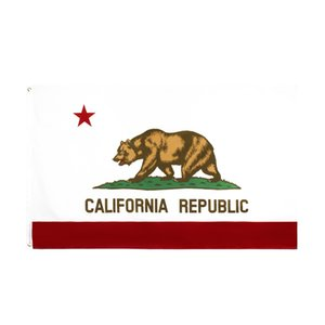Wholesale high quality 90*150cm 3*5fts ready to ship stock 100% polyester us usa state bear california flag