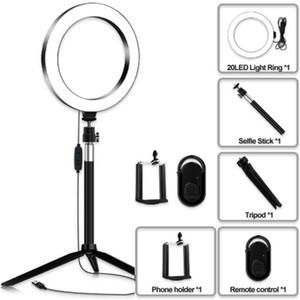 5-en-1 LED Light Ring avec télécommande selfie Memory Stick Trépied Dimmable USB Light Ring pour Live Streaming Photographie
