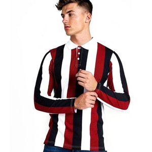 Men Shirt Summer Mens Business Casual Tops Men's Striped Long Sleeve Shirt Male Work Clothing Collar Polos