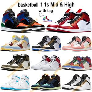 1 1S Mid Высокие Баскетбольные Обувь Мужчины Женщины Чикаго 2020 Мульти Патент Белый Черный Королевский Трэвис Скоттс Розовые Кварцы Кроссовки Брелок