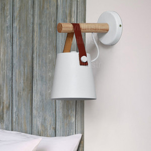 cottage iron wood leather belt wall sconce lamp American country lighting cafe bar bedside sofa side hotel bedroom white black light