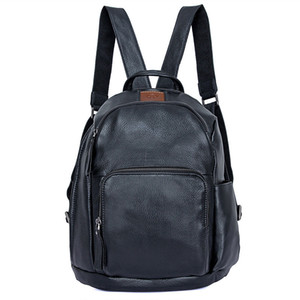 New style men genuine leather cow skin soft backpack outdoor casual school bag 201116