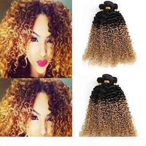 Brazilian Peruvian Malaysian Indian Ombre Hair Kinky Curly 2 Tone 8A Brazilian Virgin Curly Wave 3pcs Human Hair Extension 1B 27 Bundles