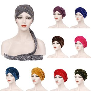 Muslim Women Velvet Head Wrap Cover Turban Hat Headscarf Islamic Long Braid Hair Loss Cancer Chemo Cap Head Beanie Solid Color