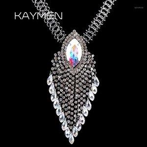 Collier de pendentif à longue chaîne à la main Kaymen à la main pour filles, strass complète Noir Pistolet Plaqué Déclaration Collier 7 couleurs Pendant1