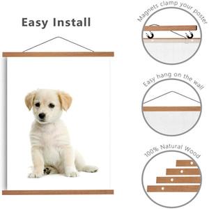 Magnetic Poster Hanger Frame Wood Wooden Teak Magnet Hanging Kit for Photo Pictures Wall Art Map Canvas Print Artwork Home Decor