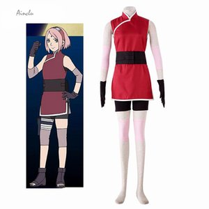 Ainclu Japanese Anime Free Shipping THE LAST -NARUTO THE MOVIE- Haruno Sakura Cosplay Costume Unisex Clothing Customize