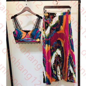 New Baroque holiday style camisole + high waist printed pleated skirt suit