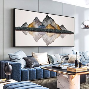 Large Size Golden Mountain Stone Abstract Canvas Paintings Print Poster Oil Painting For Living Room modern home