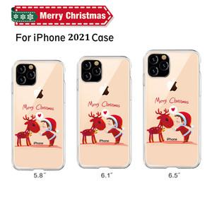 С Рождеством мультфильм Elk чехол для iPhone 12 11 Pro Max X XR Xs MAX Phone Case для iPhone 7 8 6 S Plus Silicon Cover