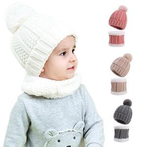 Bebê de malha beanie criança puro cor chifre chifre adicionar lã lenço 2 peças crianças outdoor doces cor inverno quente lenço chapéu wy901 d
